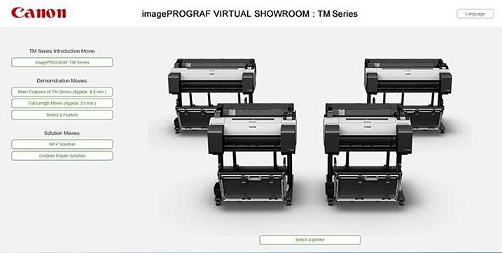 canon imagePROGRAF virtual showroom