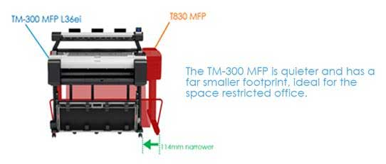 Canon imagePROGRAF TM-300-L36ei MFP is compact and quiet